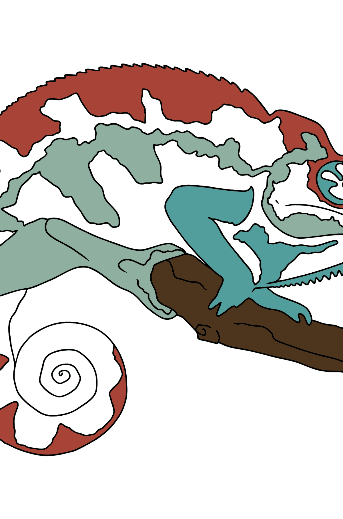 Coloring Page - A Chameleon is Having a Rest - Coloring Pages for Kids