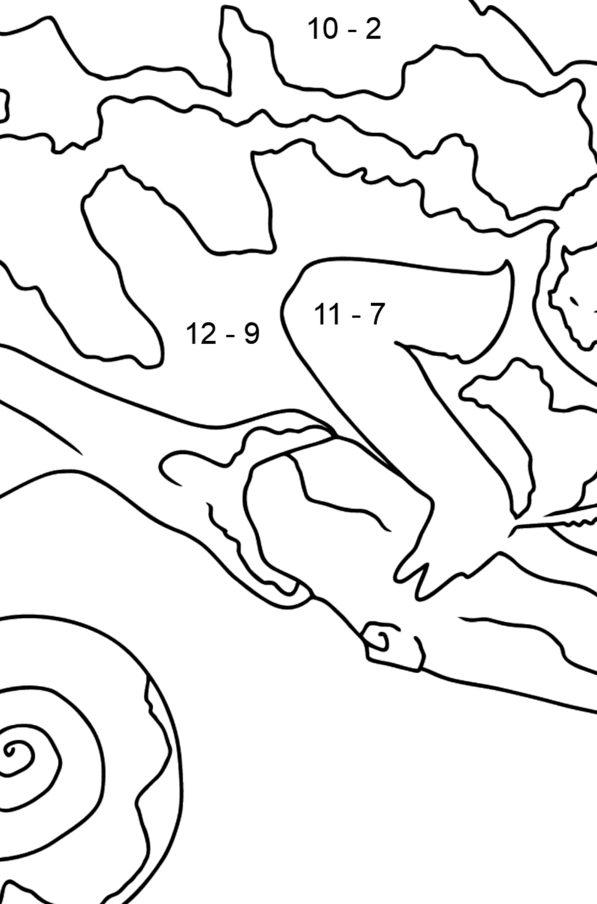 Coloring Page - A Chameleon is Having a Rest - Math Coloring - Subtraction for Kids
