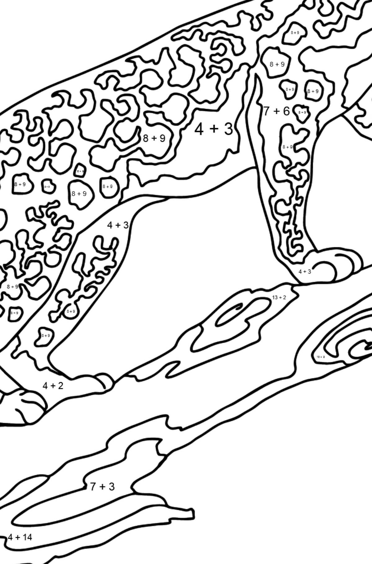 Coloring Page - A Leopard is on a Hunt - Math Coloring - Addition for Kids
