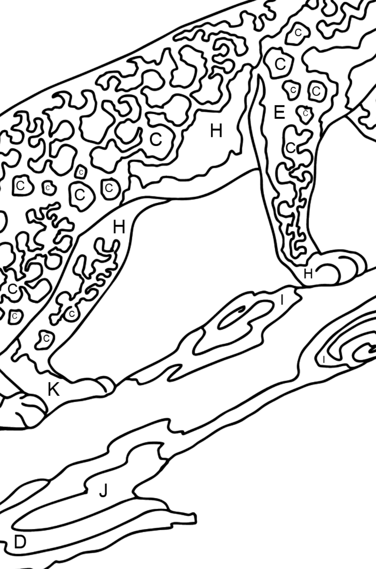 Coloring Page - A Leopard is on a Hunt - Coloring by Letters for Kids