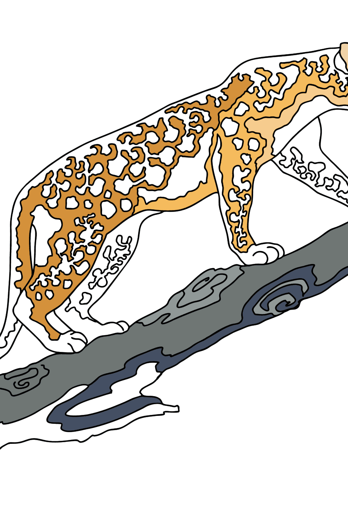 Coloring Page - A Leopard is on a Hunt - Coloring Pages for Kids