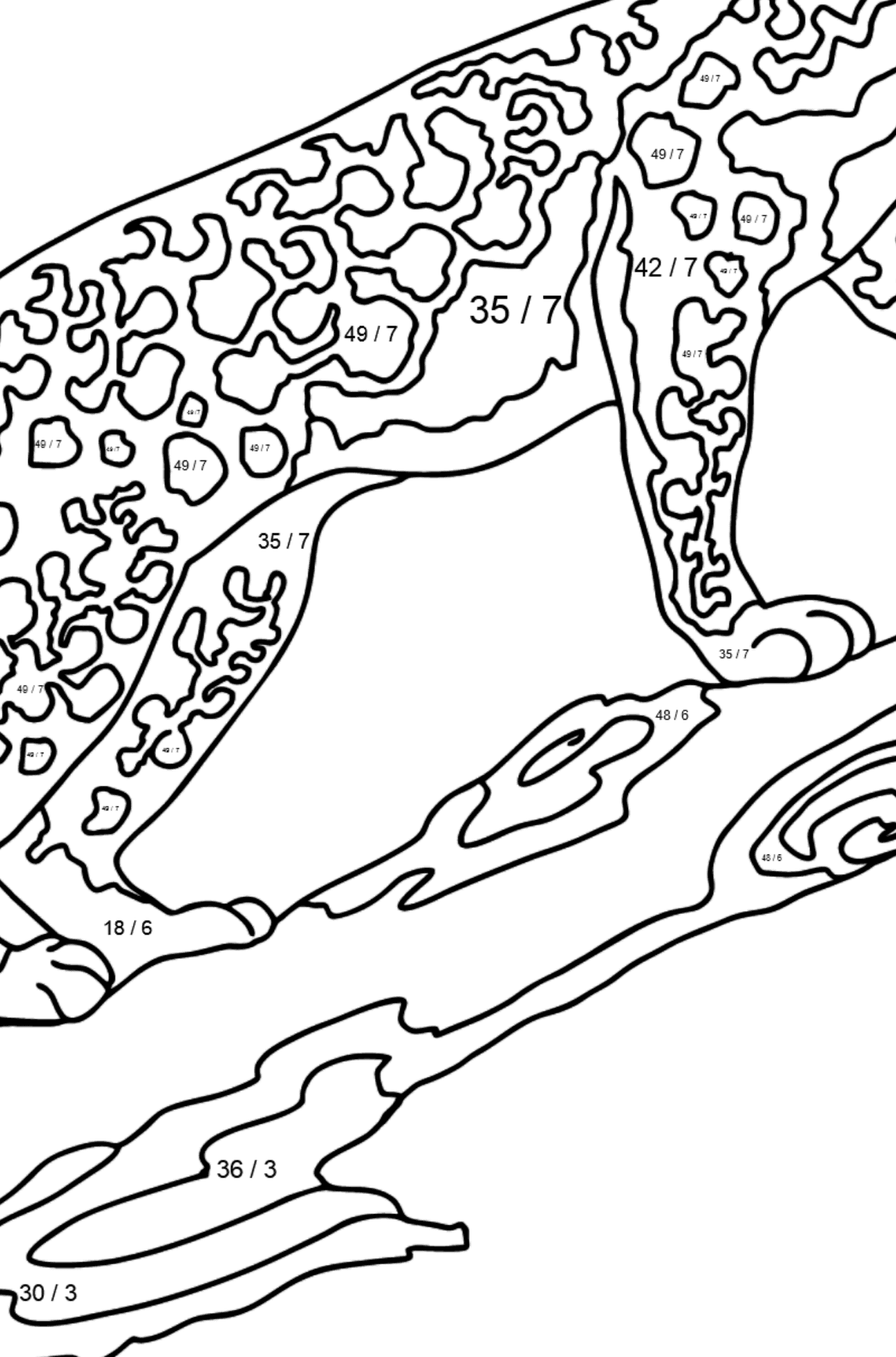 Coloring Page - A Leopard is on a Hunt - Math Coloring - Division for Kids
