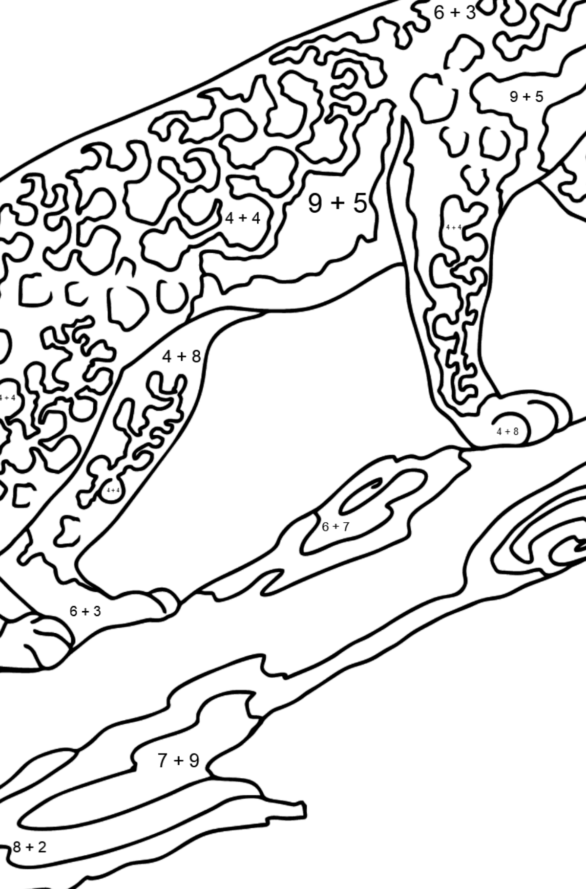 Coloring Page - A Leopard on a Branch - Math Coloring - Addition for Kids