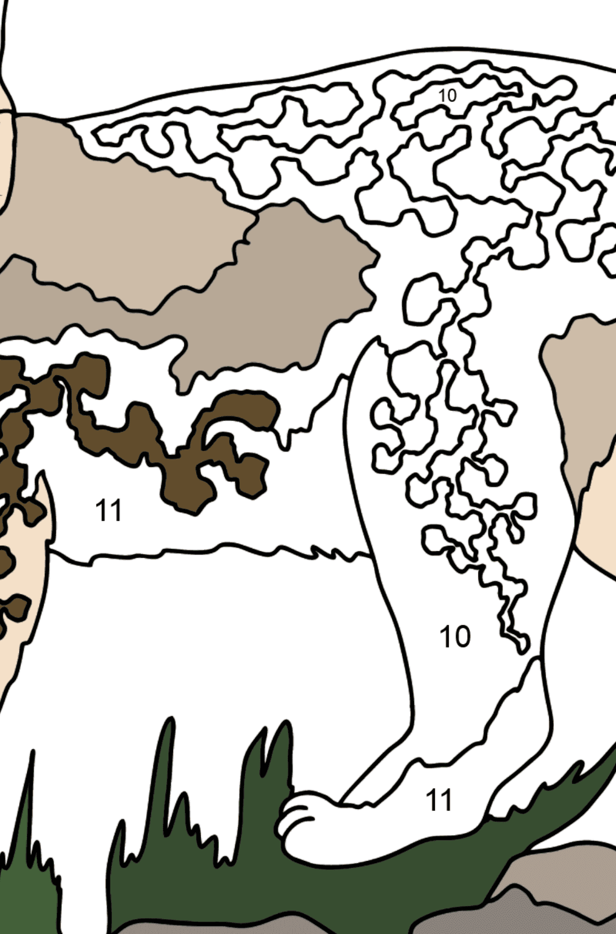 Coloring Page - A Lynx in the Forest - Coloring by Numbers for Kids