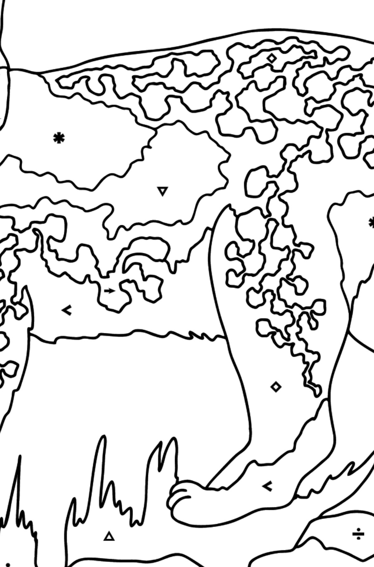 Coloring Page - A Lynx in the Forest - Coloring by Symbols for Kids