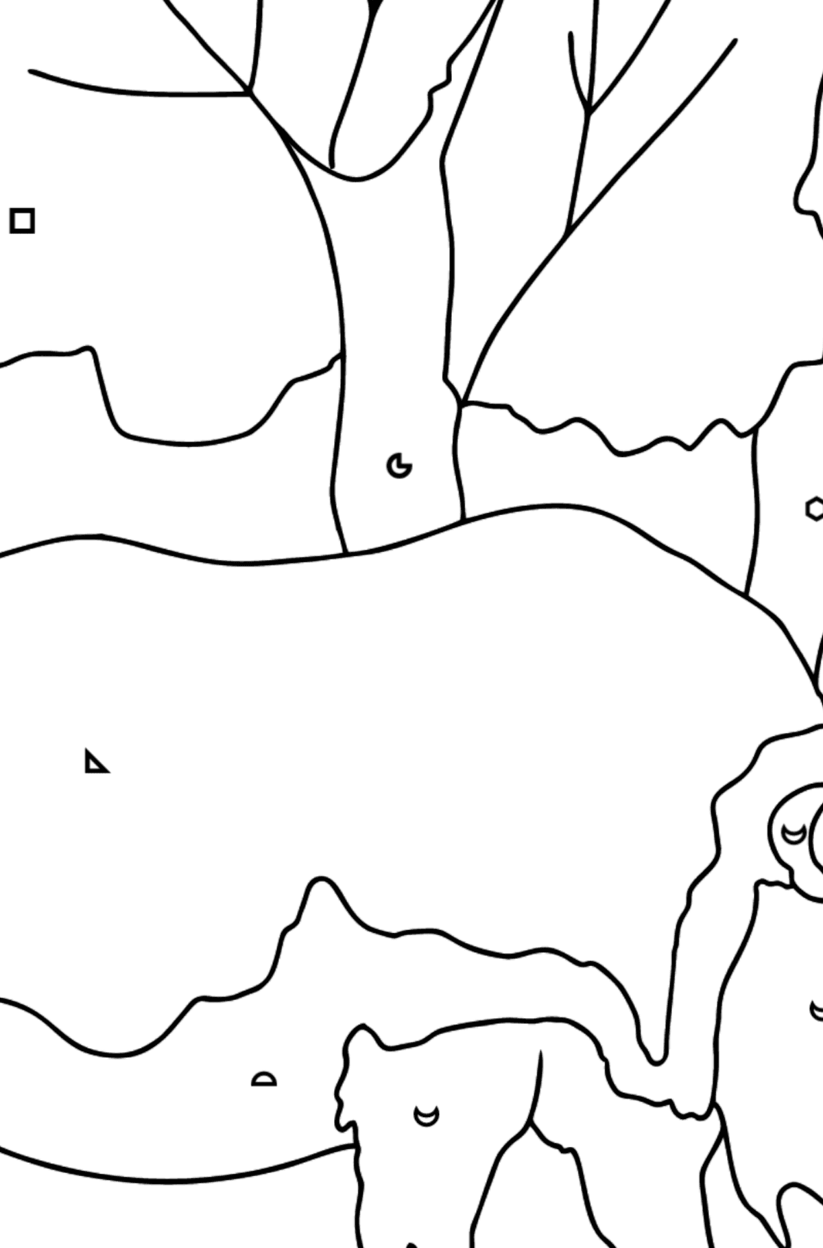 Coloring Page - A Massive Rhino - Coloring by Geometric Shapes for Kids