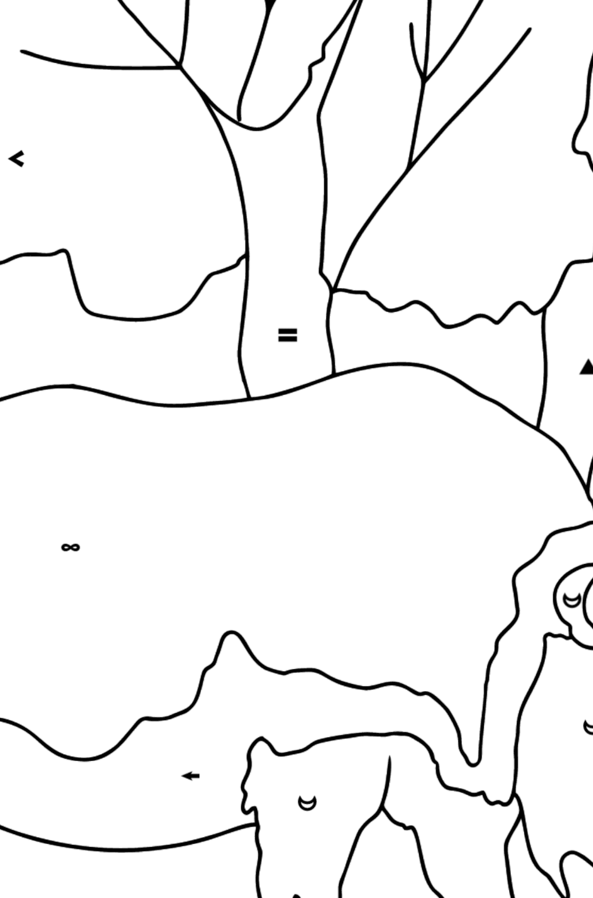 Coloring Page - A Massive Rhino - Coloring by Symbols for Kids