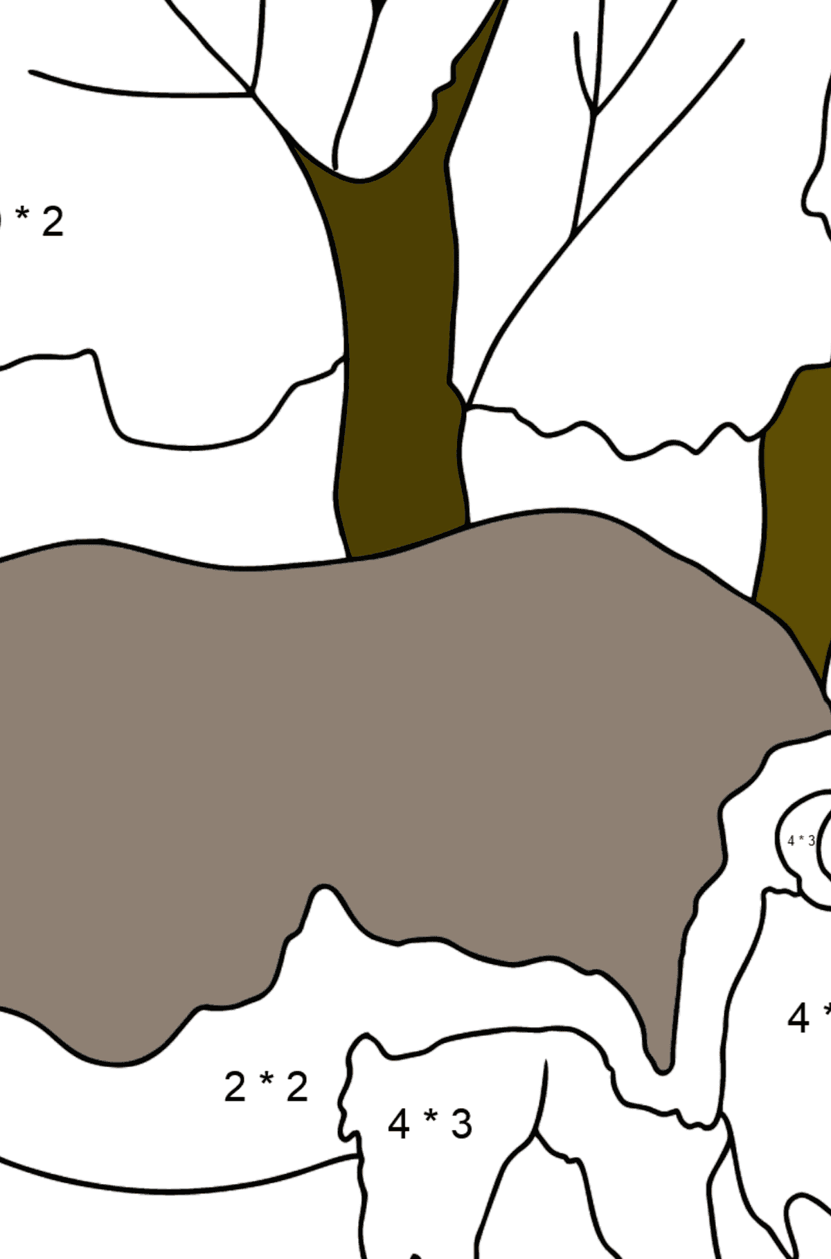Coloring Page - A Massive Rhino - Math Coloring - Multiplication for Kids