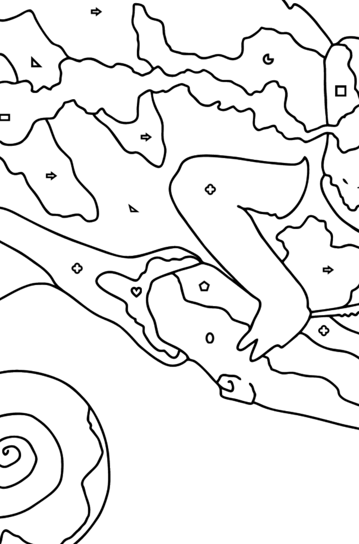 Coloring Page - A Multicolored Chameleon - Coloring by Geometric Shapes for Kids