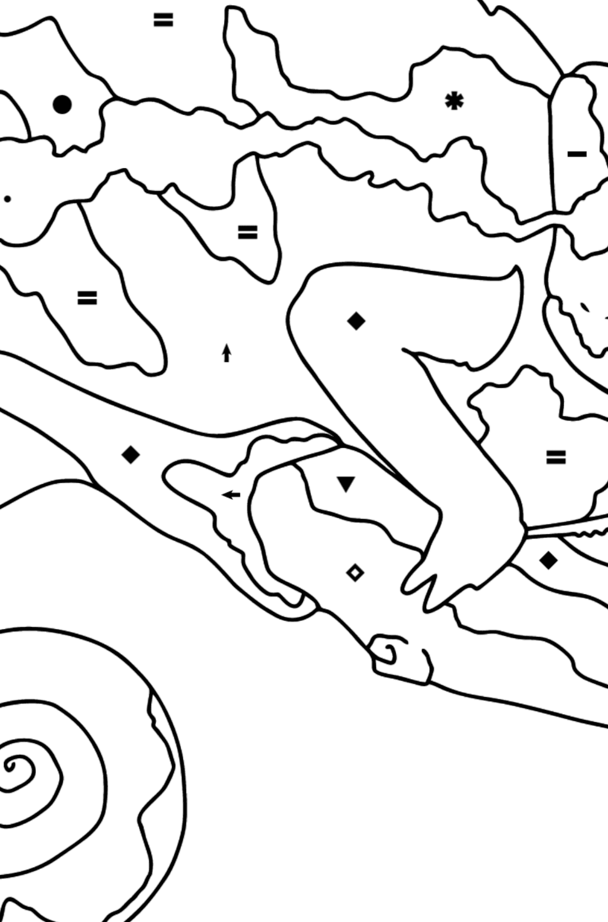 Coloring Page - A Multicolored Chameleon - Coloring by Symbols for Kids