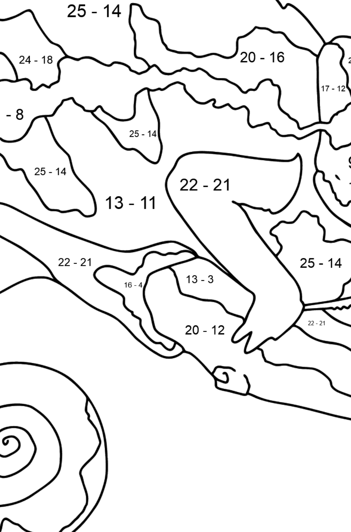Coloring Page - A Multicolored Chameleon - Math Coloring - Subtraction for Kids