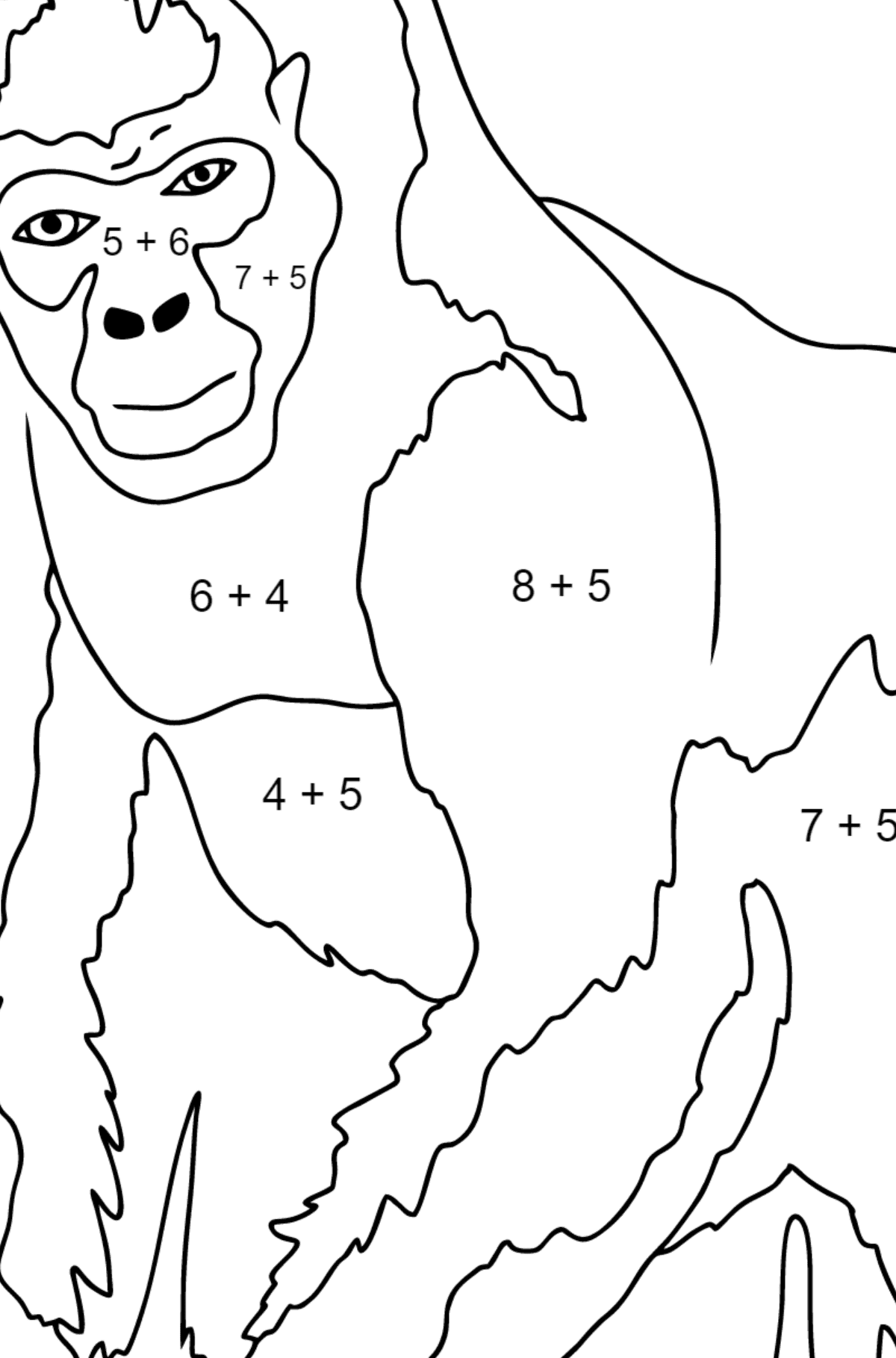 Coloring Page - A Real Gorilla - Math Coloring - Addition for Children