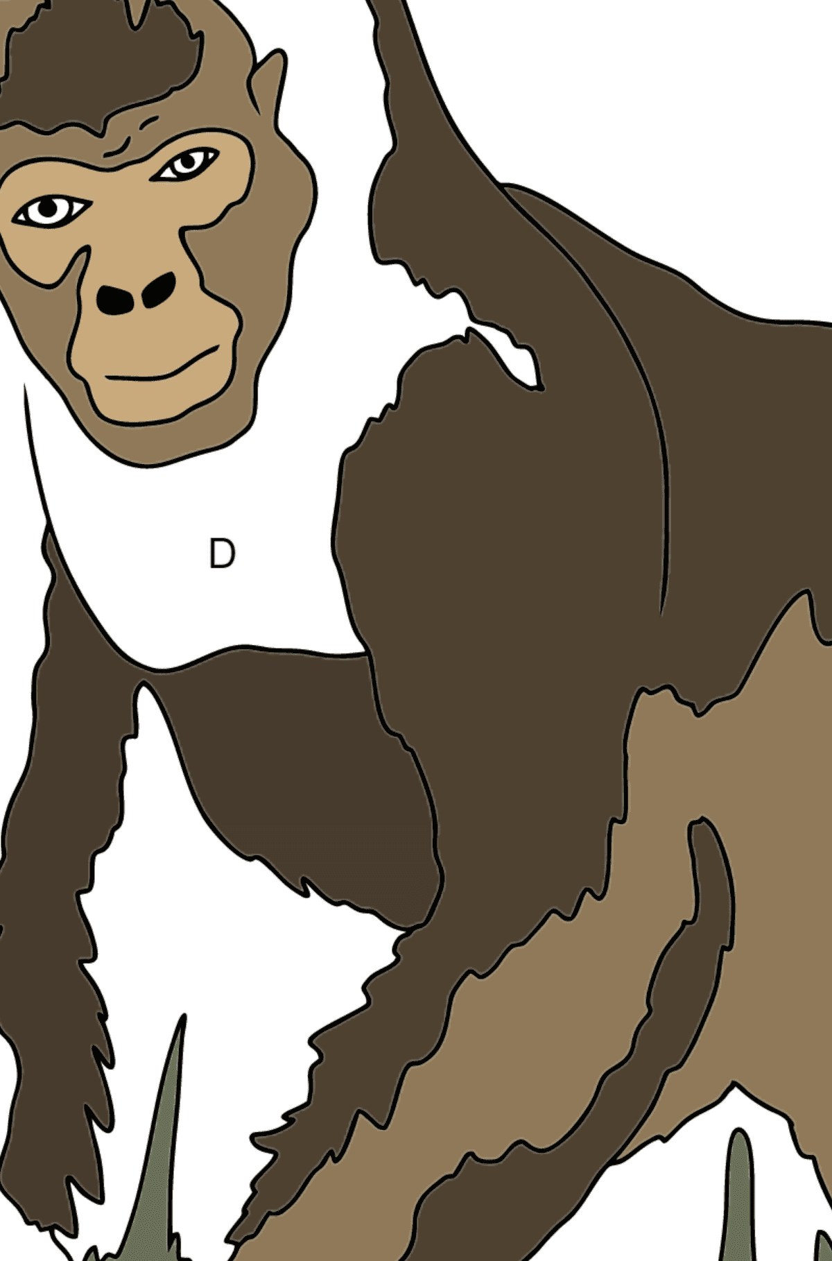 Coloring Page - A Real Gorilla - Coloring by Letters for Kids