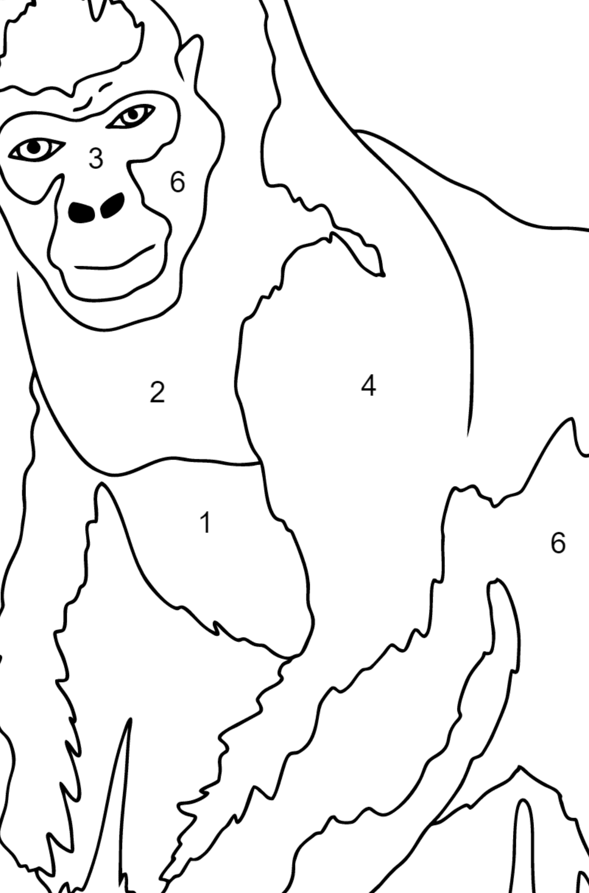 Coloring Page - A Real Gorilla - Coloring by Numbers for Kids