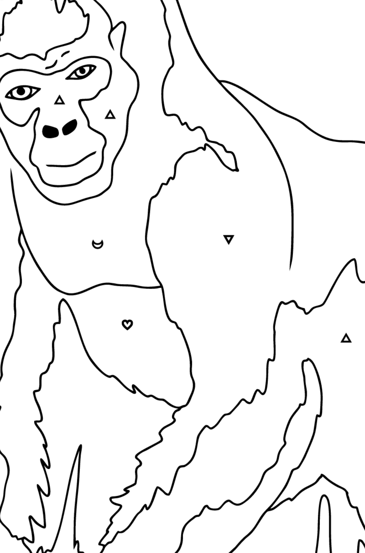 Coloring Page - A Real Gorilla - Coloring by Symbols and Geometric Shapes for Children
