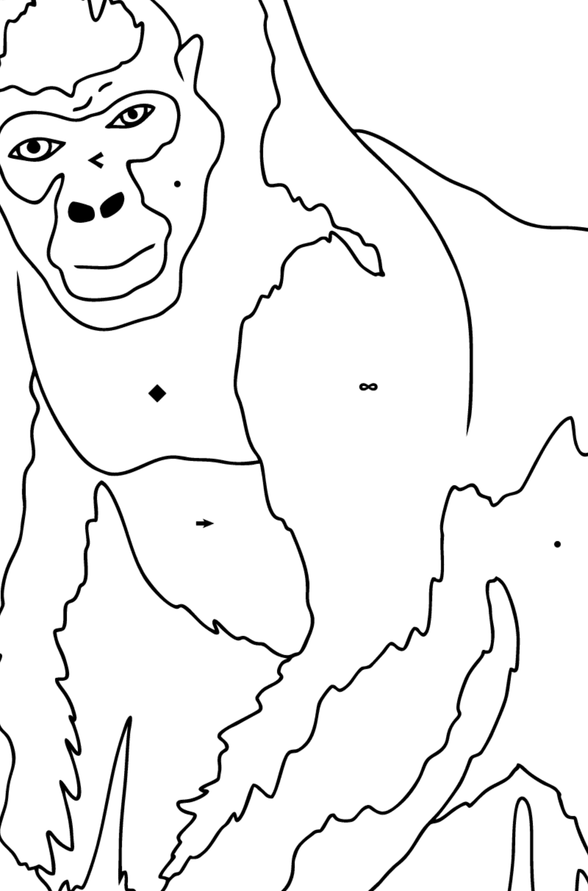 Coloring Page - A Real Gorilla - Coloring by Symbols for Children