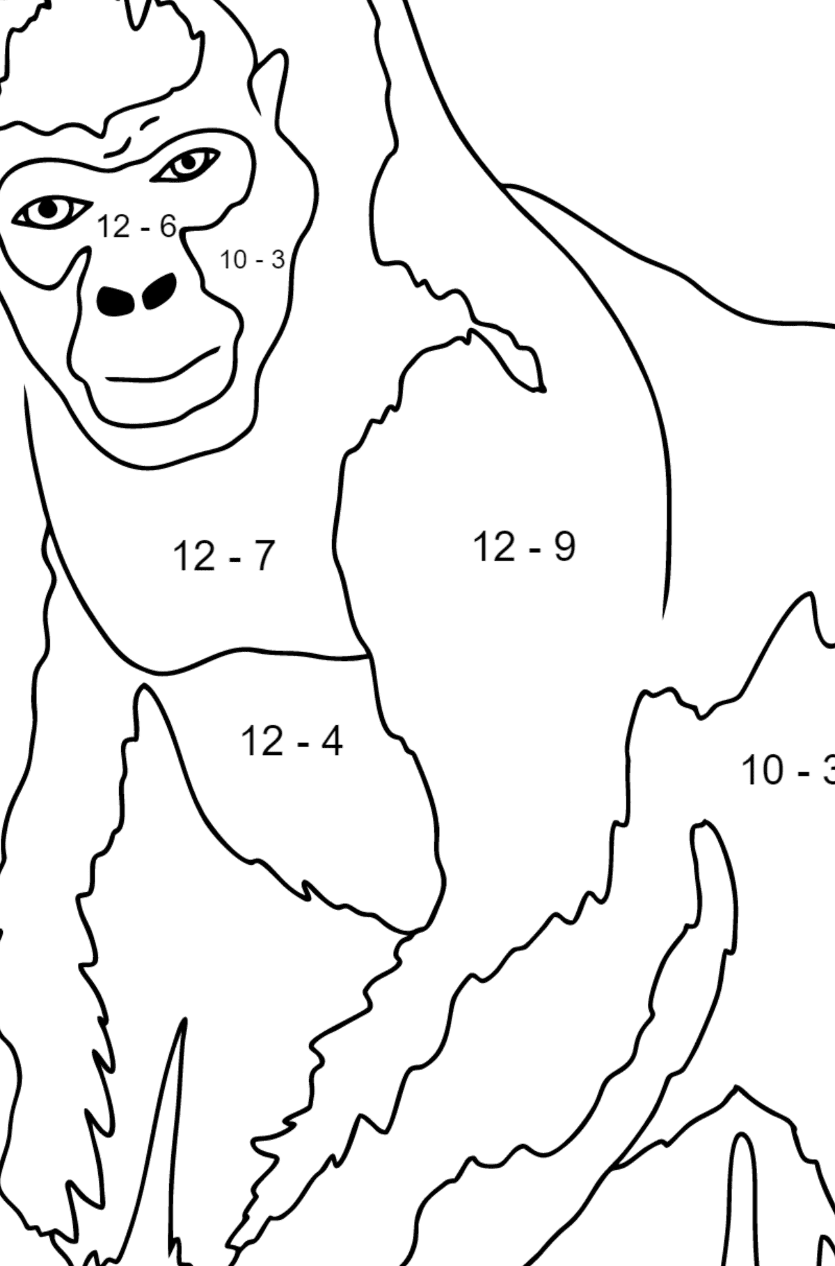 Coloring Page - A Real Gorilla - Math Coloring - Subtraction for Children