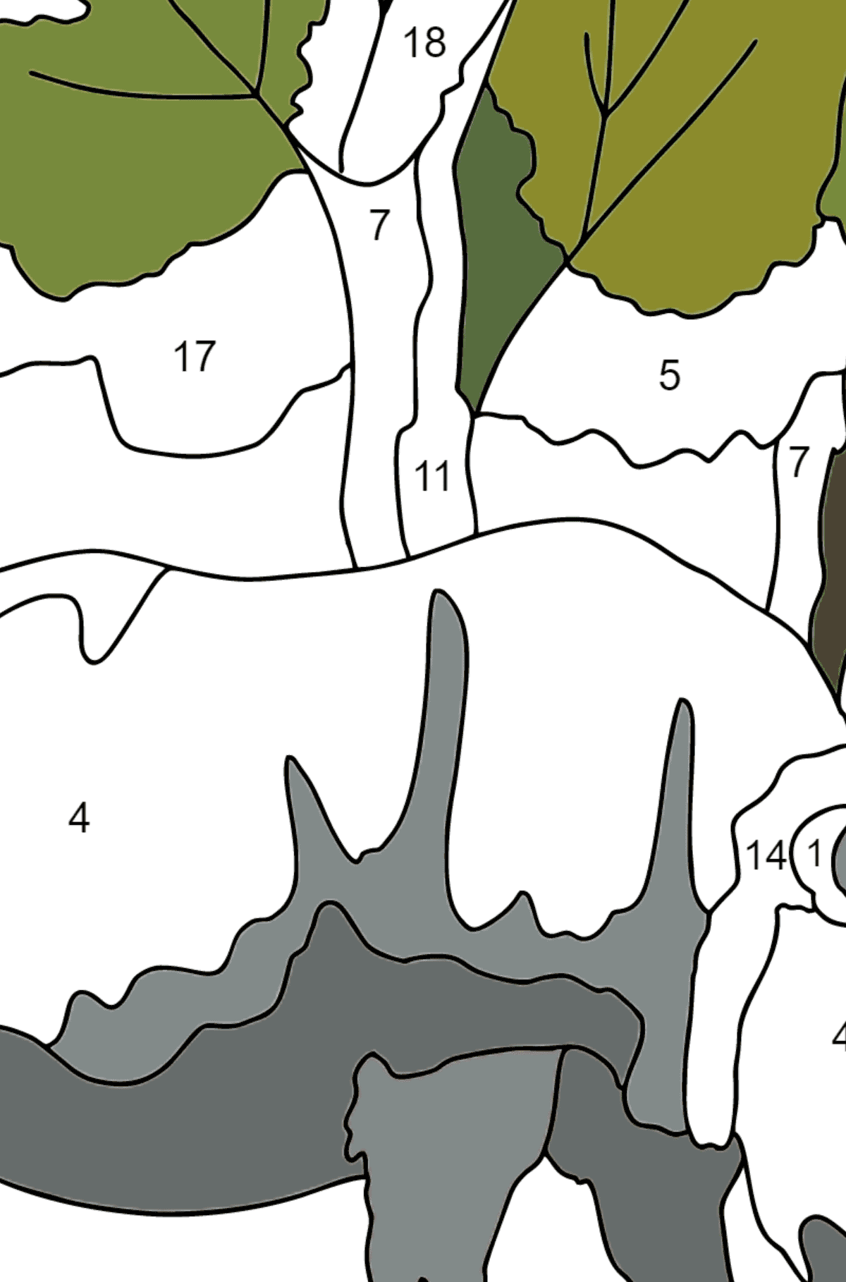 Coloring Page - A Rhino is Eating - Coloring by Numbers for Children
