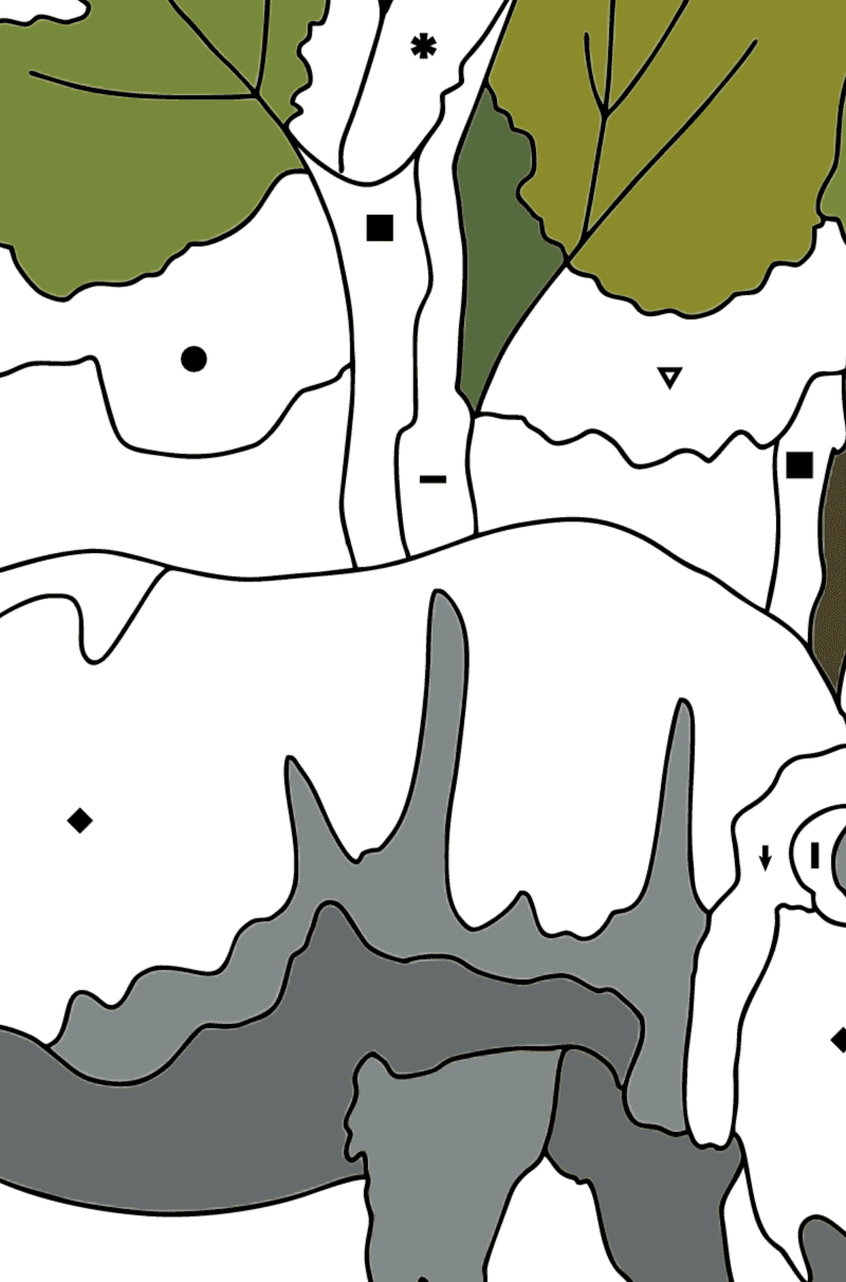 Coloring Page - A Rhino is Eating - Coloring by Symbols for Kids