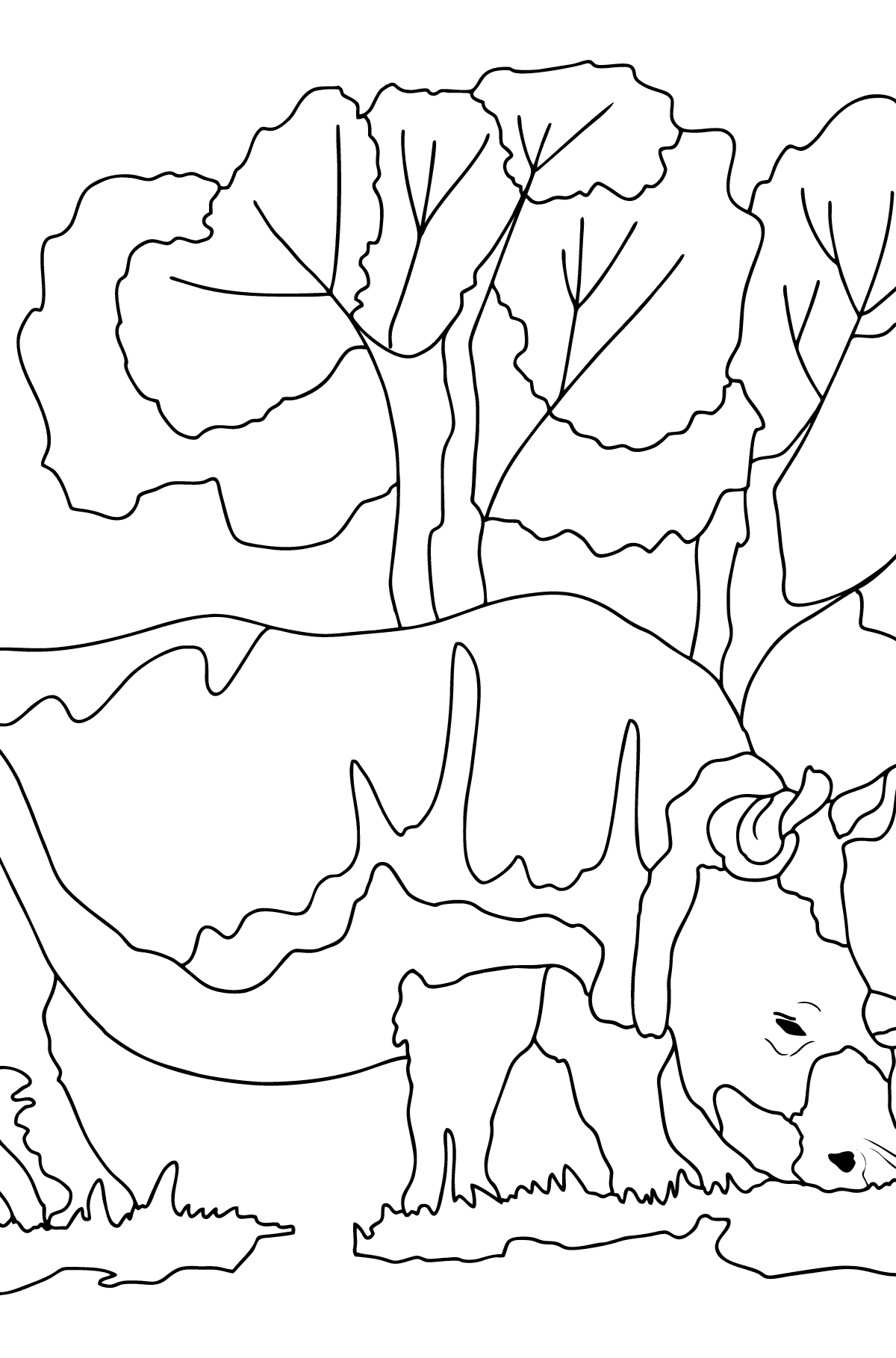 Coloring Page - A Rhino is Eating - Coloring Pages for Children
