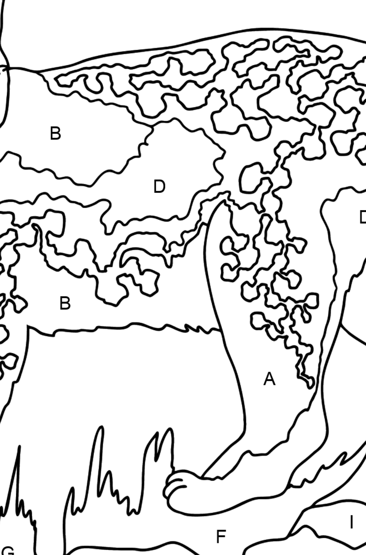 Coloring Page - A Wild Lynx - Coloring by Letters for Kids