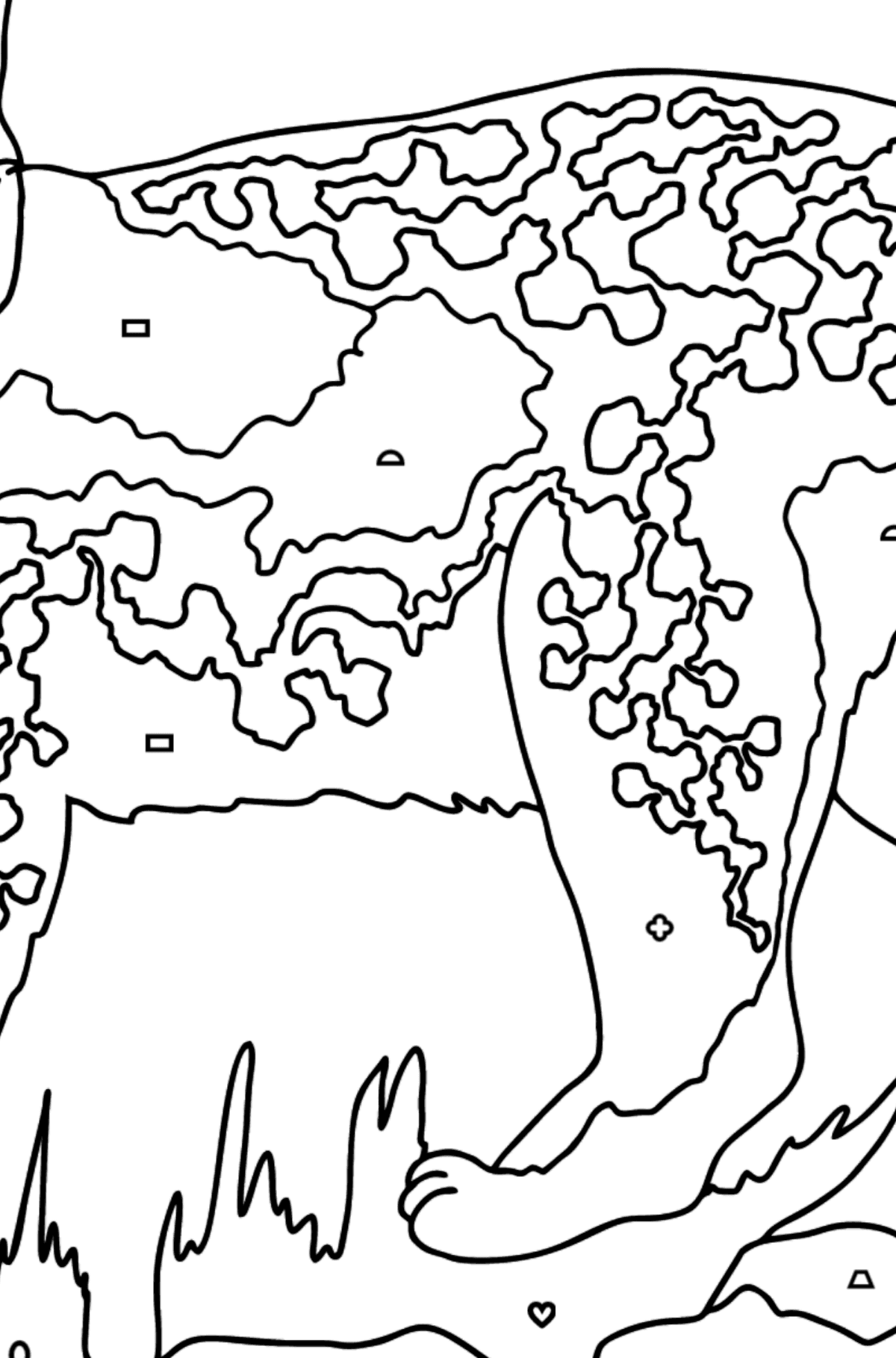Coloring Page - A Wild Lynx - Coloring by Geometric Shapes for Kids