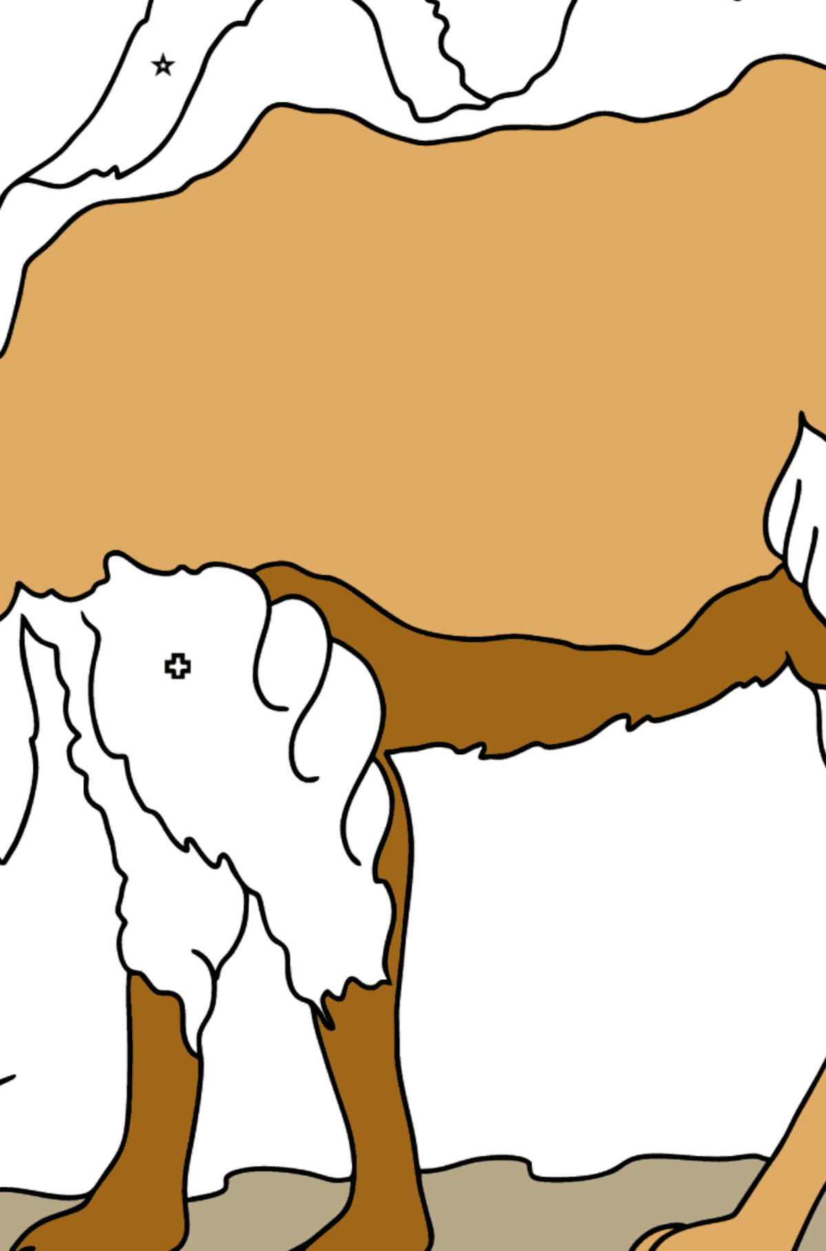 Coloring Page - A Camel in the Desert - Coloring by Geometric Shapes for Kids