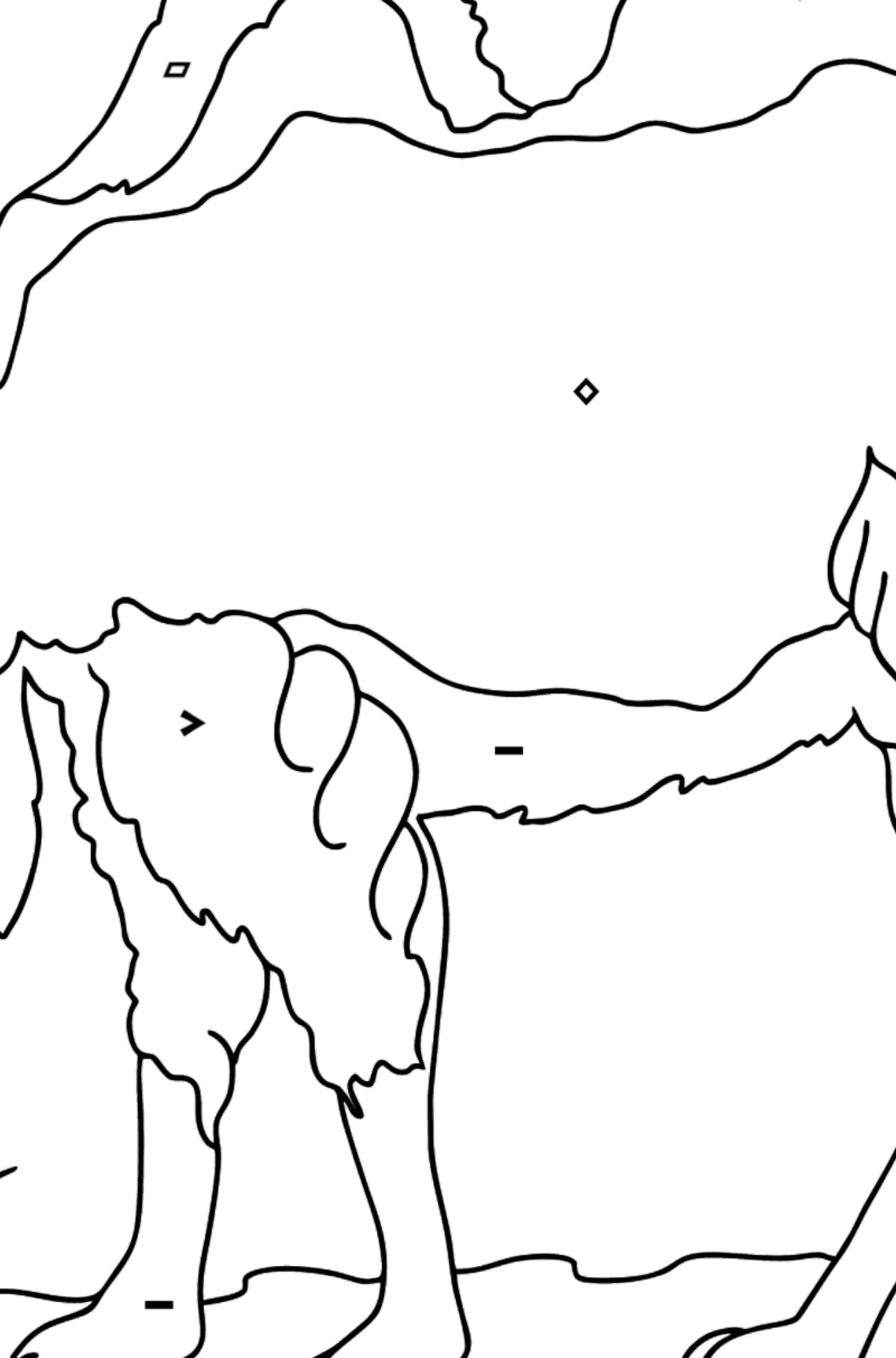 Coloring Page - A Camel in the Desert - Coloring by Symbols and Geometric Shapes for Kids