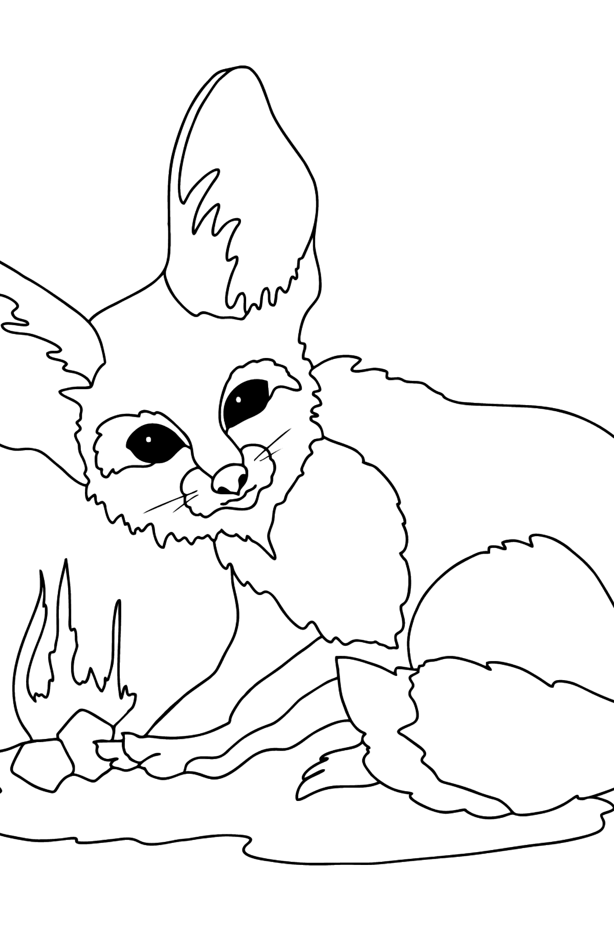 A Cautious Fennec Fox Coloring Page - Coloring Pages for Kids
