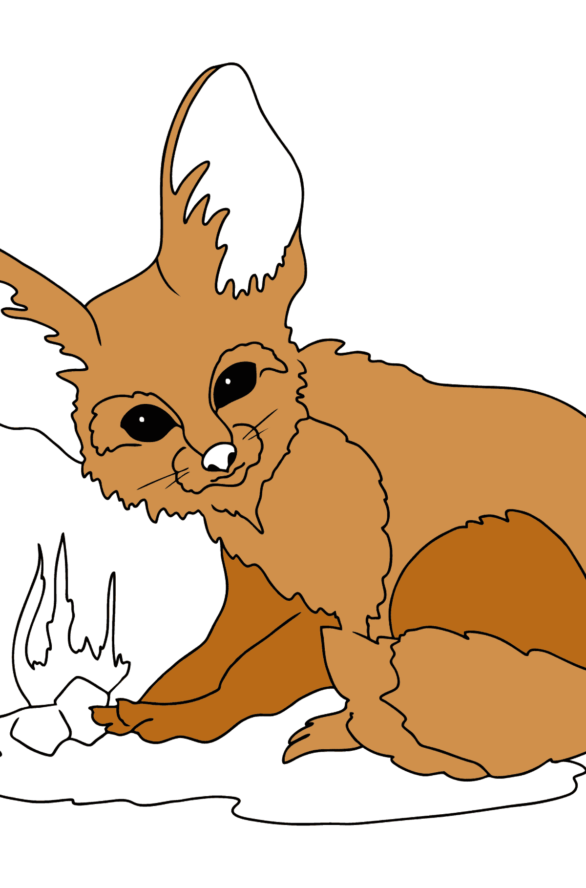 A Fennec Fox with Big Ears Coloring Page - Coloring Pages for Kids