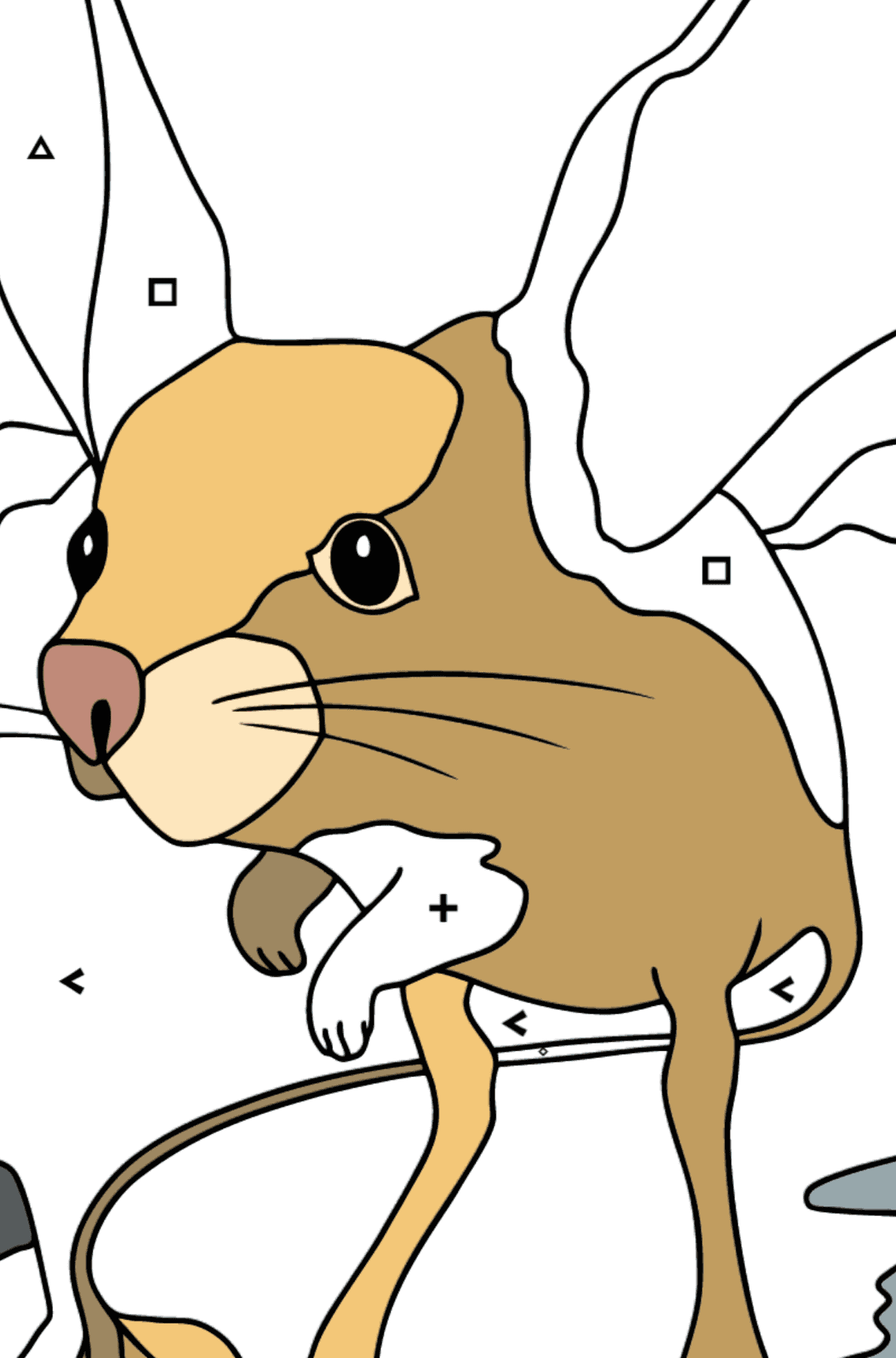 A Jerboa is Inspecting the Area Coloring Page - Coloring by Symbols for Kids