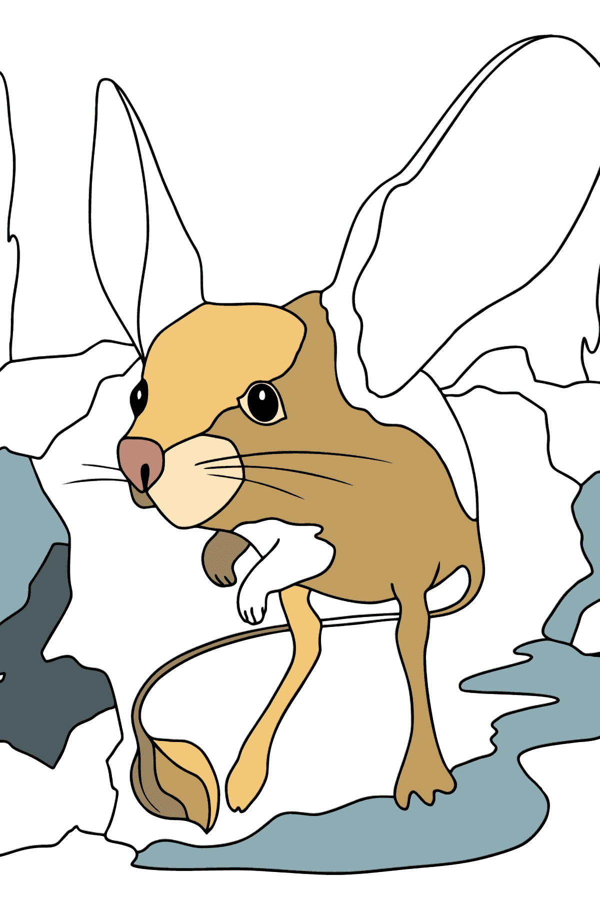 A Jerboa is Inspecting the Area Coloring Page - Coloring Pages for Kids