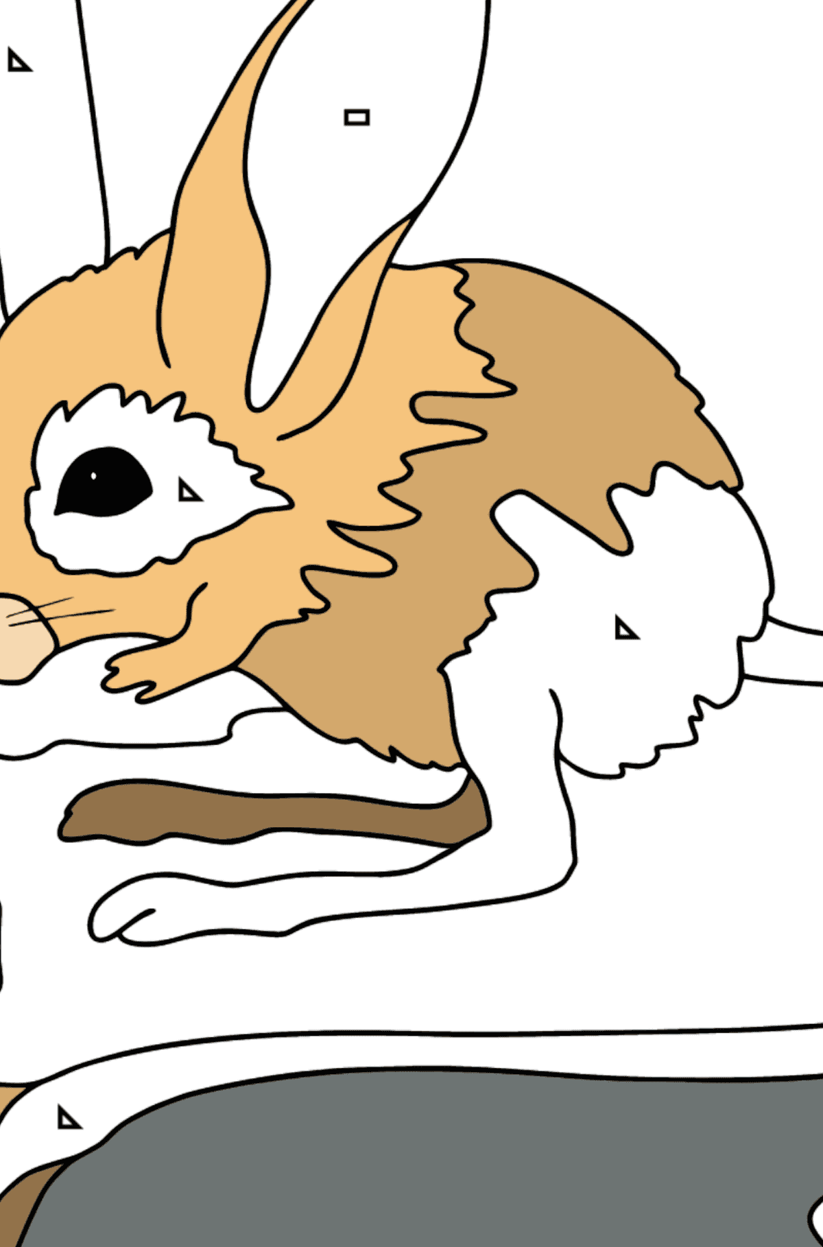 Coloring Page - A Jerboa is Looking Scared - Coloring by Geometric Shapes for Kids