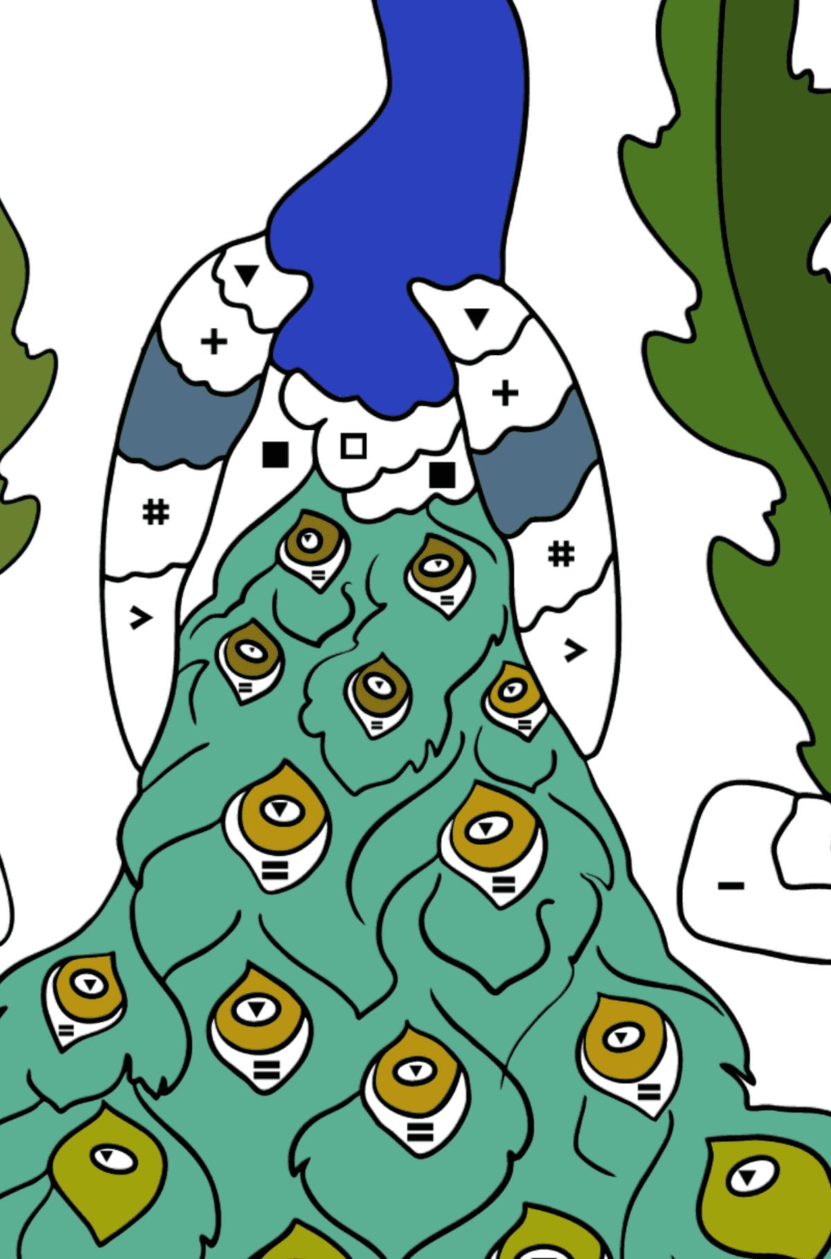 A Peacock Coloring Page - Coloring by Symbols for Kids