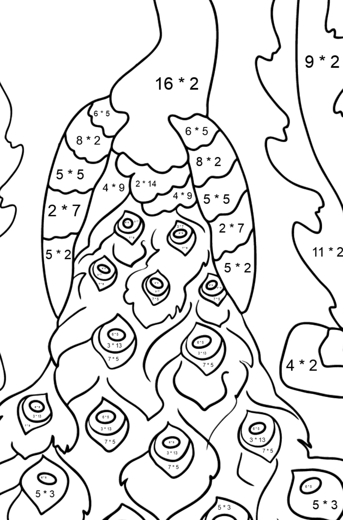 A Peacock Coloring Page - Math Coloring - Multiplication for Kids