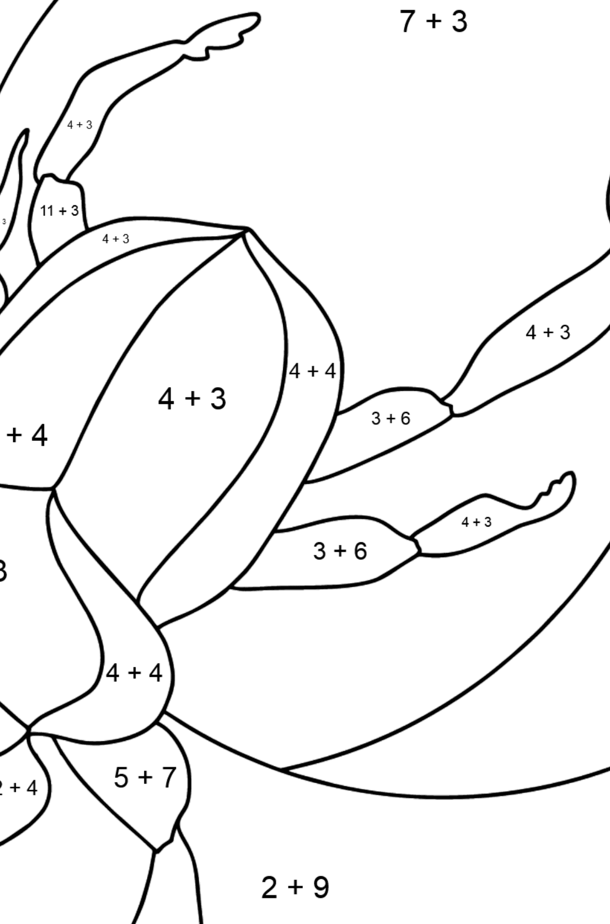 Coloring Page - A Scarab Beetle or a Symbol of Renewal - Math Coloring - Addition for Kids