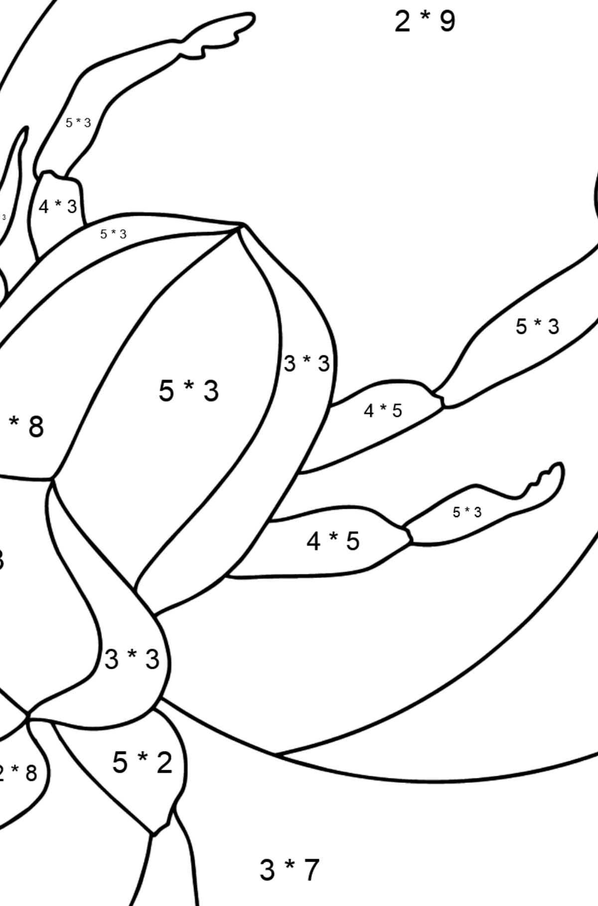 Coloring Page - A Scarab Beetle or a Symbol of Renewal - Math Coloring - Multiplication for Kids