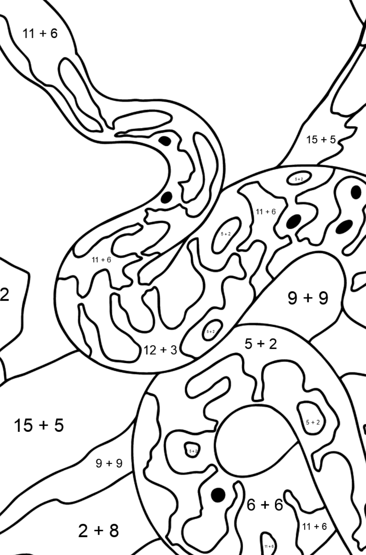 A Snake is Preparing for a Hunt Coloring Page - Math Coloring - Addition for Kids