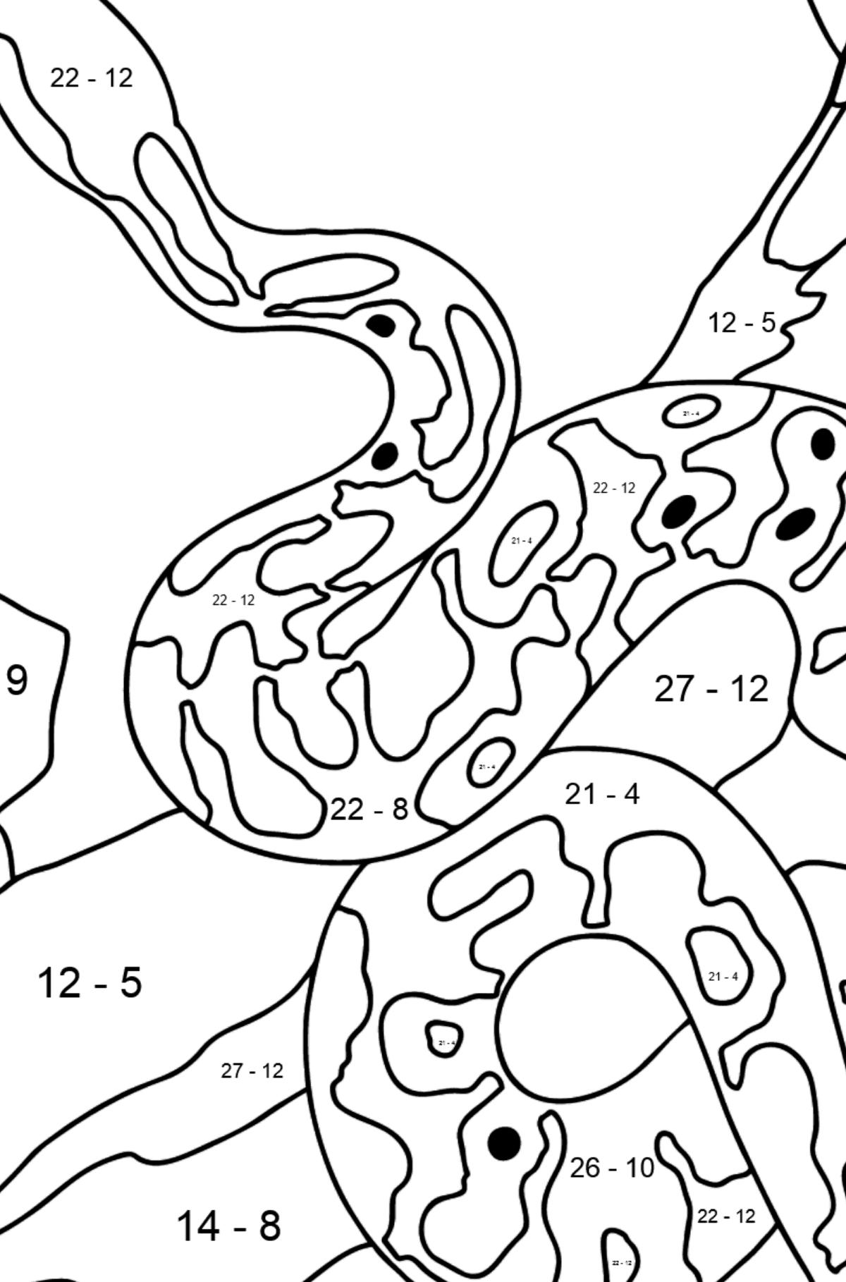 A Snake is Preparing for a Hunt Coloring Page - Math Coloring - Subtraction for Kids