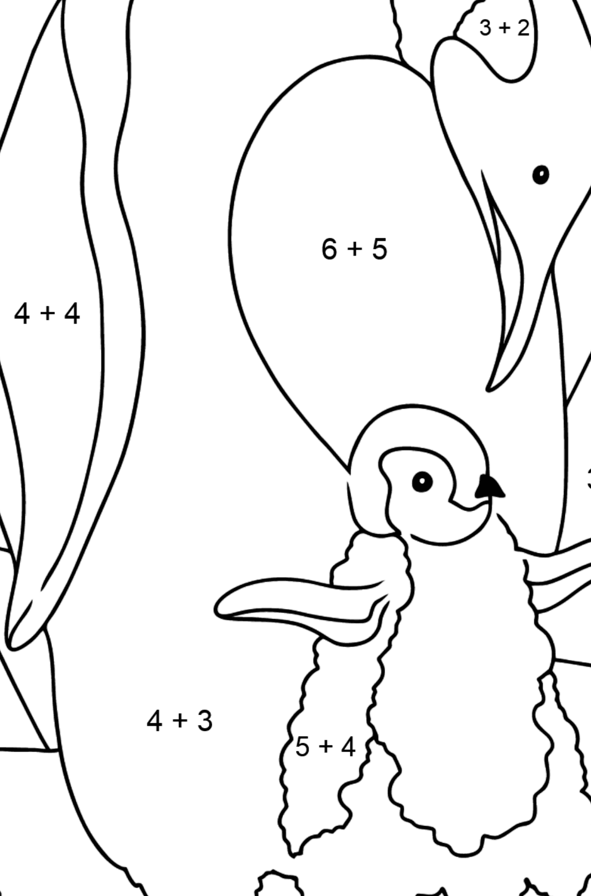 Coloring Page - A Caring Penguin - Math Coloring - Addition for Kids