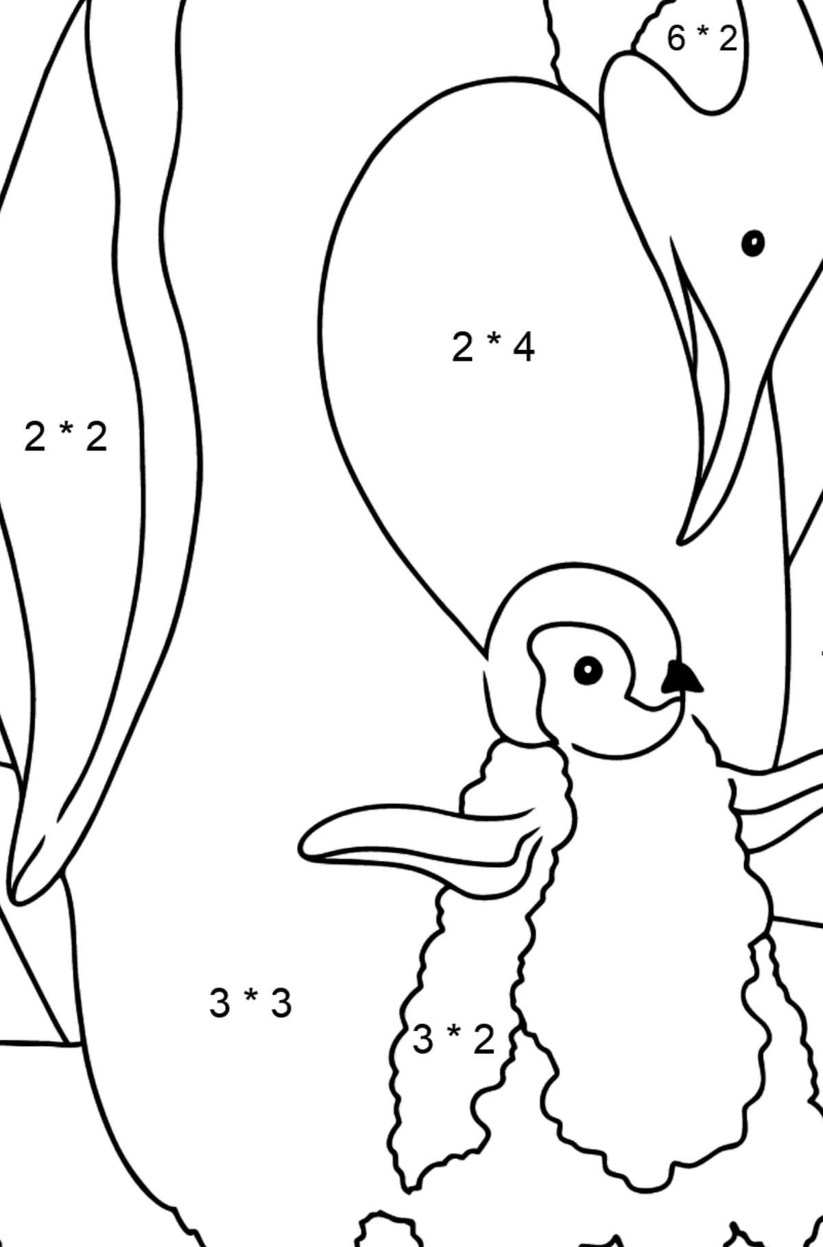 Coloring Page - A Caring Penguin - Math Coloring - Multiplication for Kids