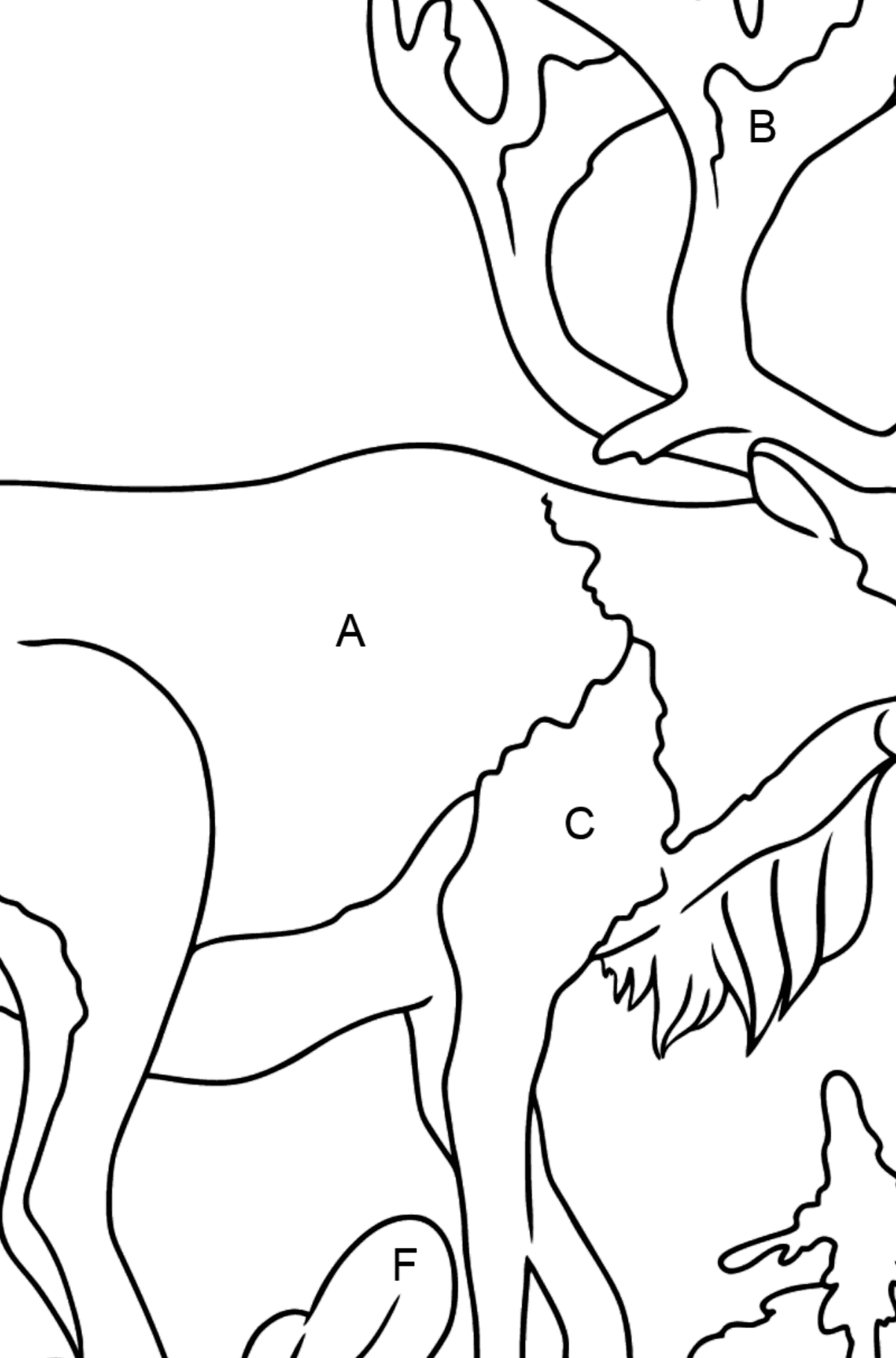 Coloring Page - A Deer with Beautiful Antlers - Coloring by Letters for Kids