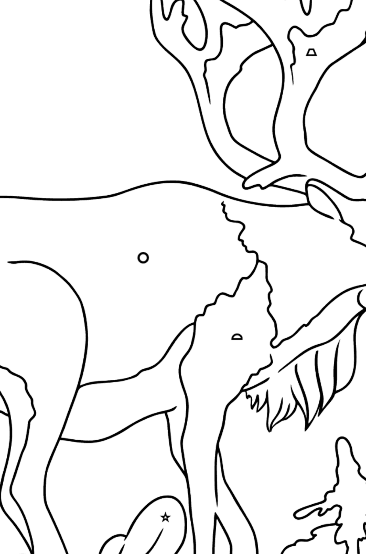 Coloring Page - A Deer with Beautiful Antlers - Coloring by Geometric Shapes for Kids