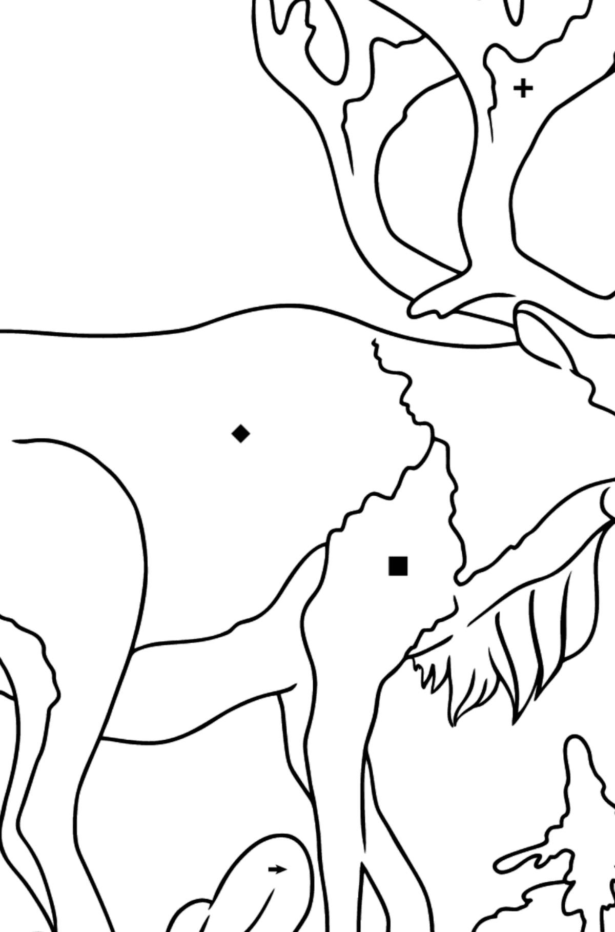 Coloring Page - A Deer with Beautiful Antlers - Coloring by Symbols and Geometric Shapes for Kids