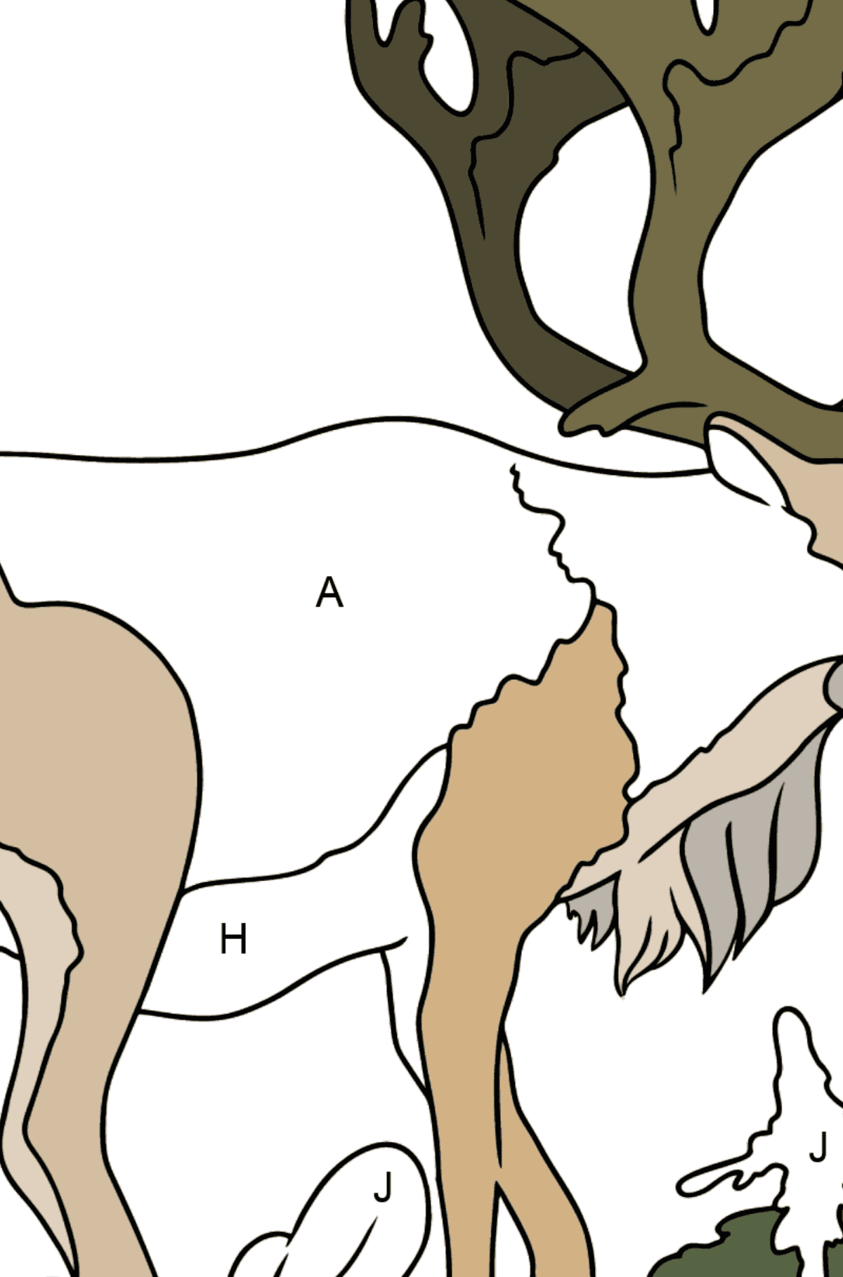 Coloring Page - a Deer with Gorgeous Antlers - Coloring by Letters for Kids