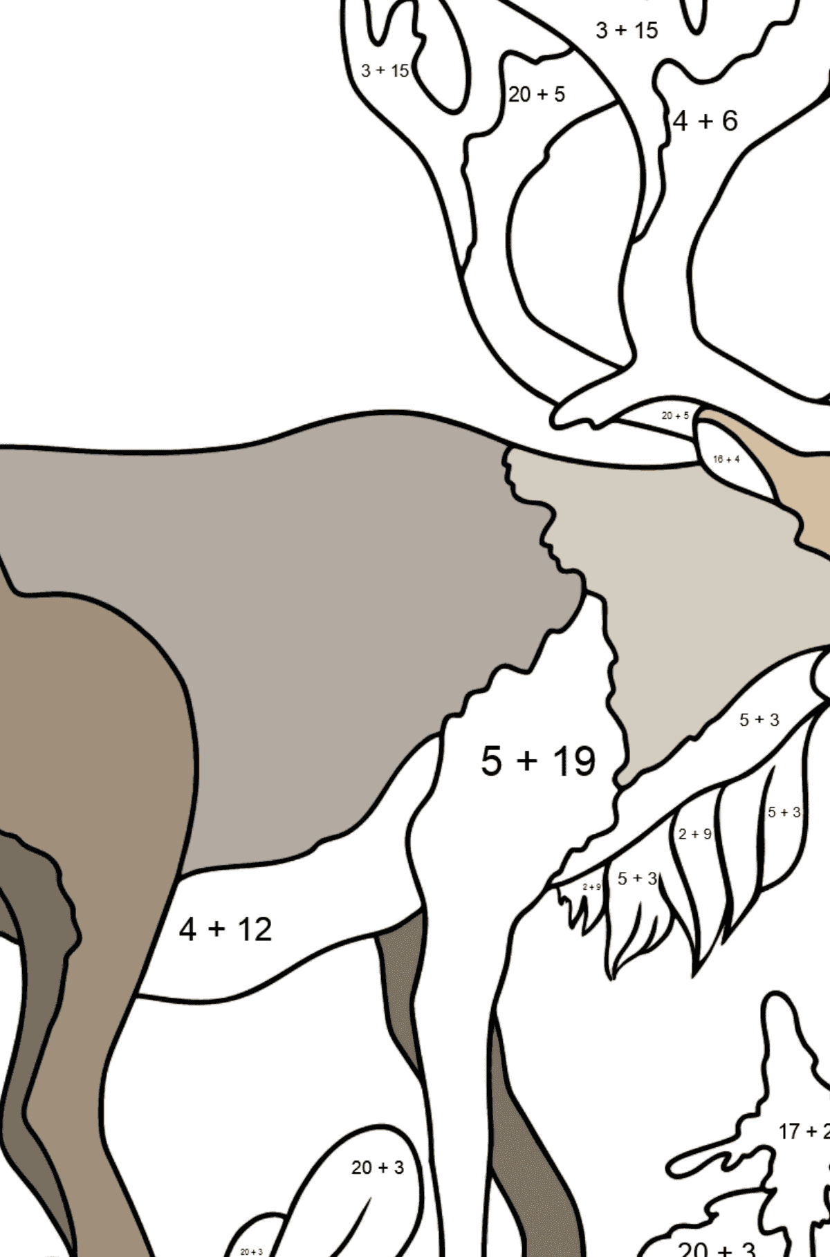Coloring Page - A Noble Deer - Math Coloring - Addition for Kids