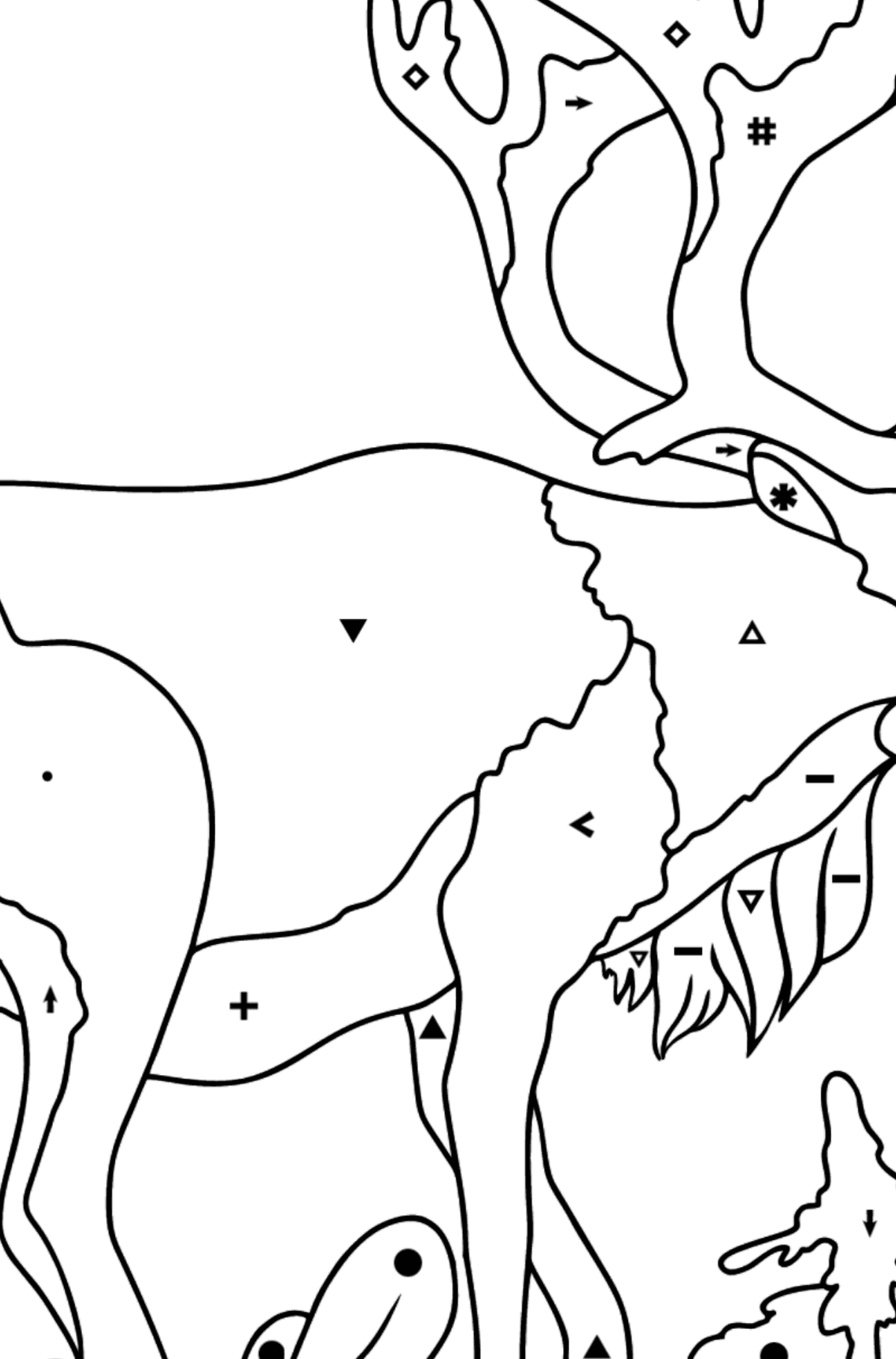Coloring Page - A Noble Deer - Coloring by Symbols for Kids