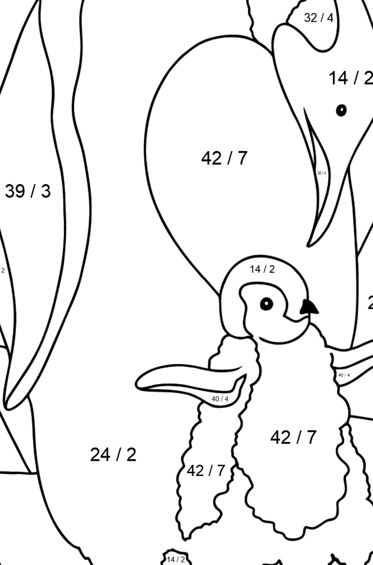 Coloring Page - A Penguin with a Baby - Math Coloring - Division for Kids