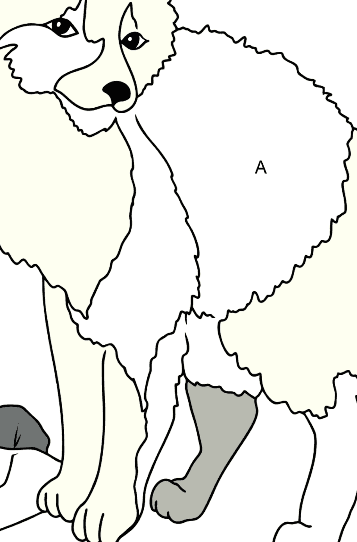 Coloring Page - A Polar Fox on a Hunt - Coloring by Letters for Kids