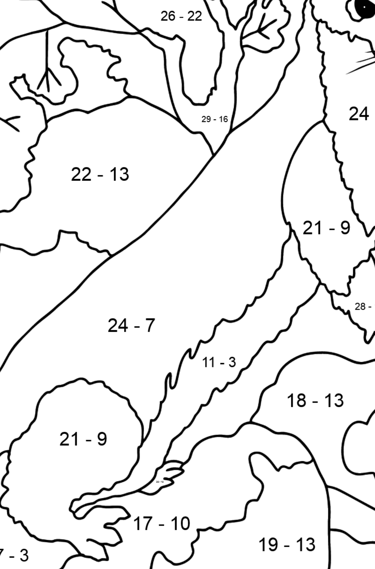 Coloring Page - An Ermine - A Sly Hunter - Math Coloring - Subtraction for Kids